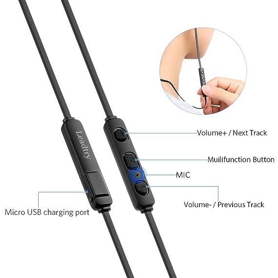 Auriculares Bluetooth auriculares inalámbricos E12, Leadtry, Slim ligero Bluetooth RSE 4.1, CVC6.0 cancelación de ruido, IPX4 resistente al agua deporte ...