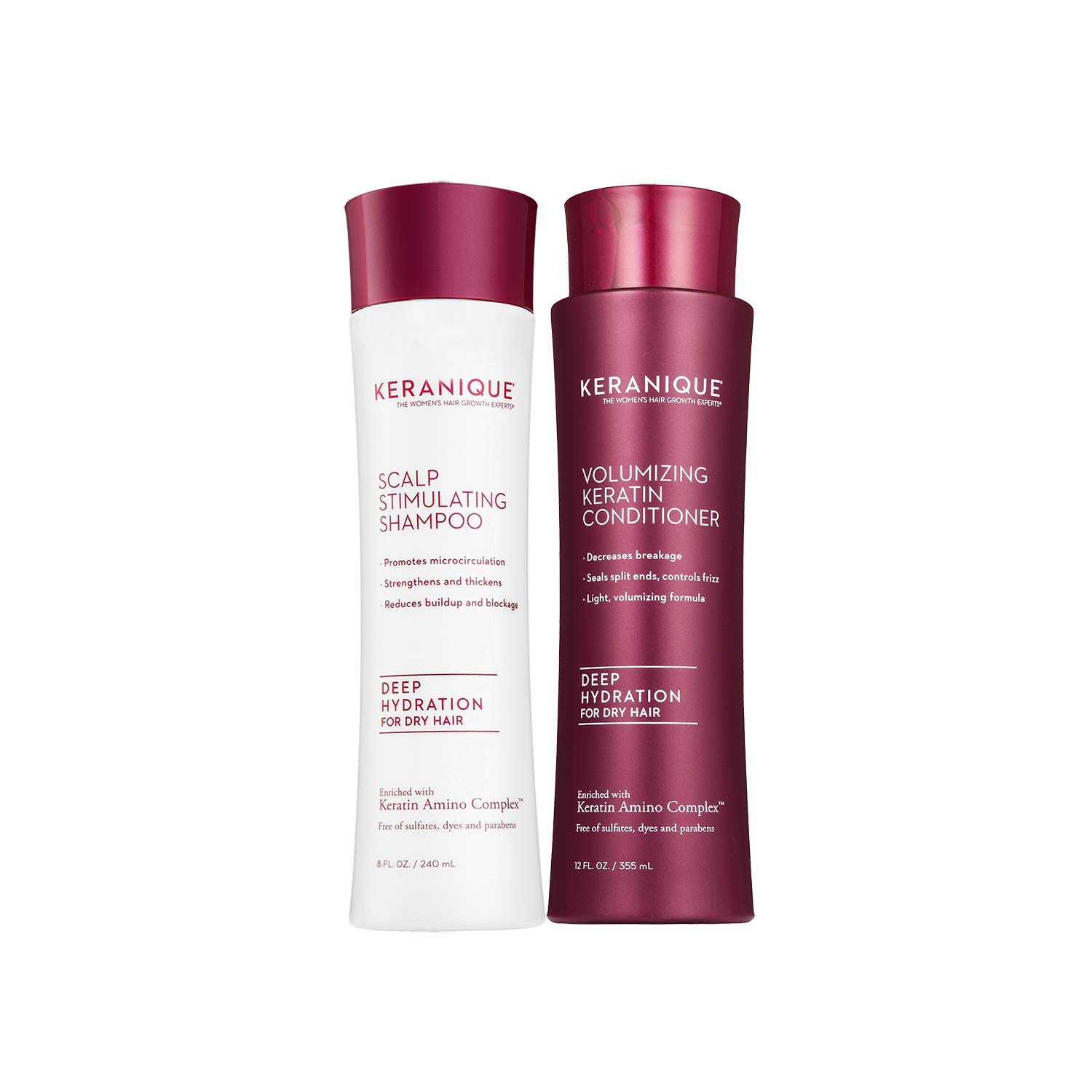 Keranique Deep Hydrating Shampoo and Conditioner Set for Hair Growth and Thinning Hair   Keratin Hair Treatment   Keratin Amino Complex, Free of Sulfates, Dyes and Parabens, 8 Fl Oz by Keranique