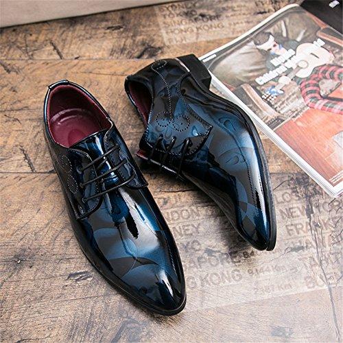 de para Charol Hombre de Azul SEVENZAI Zapatos Cordones 714UUt