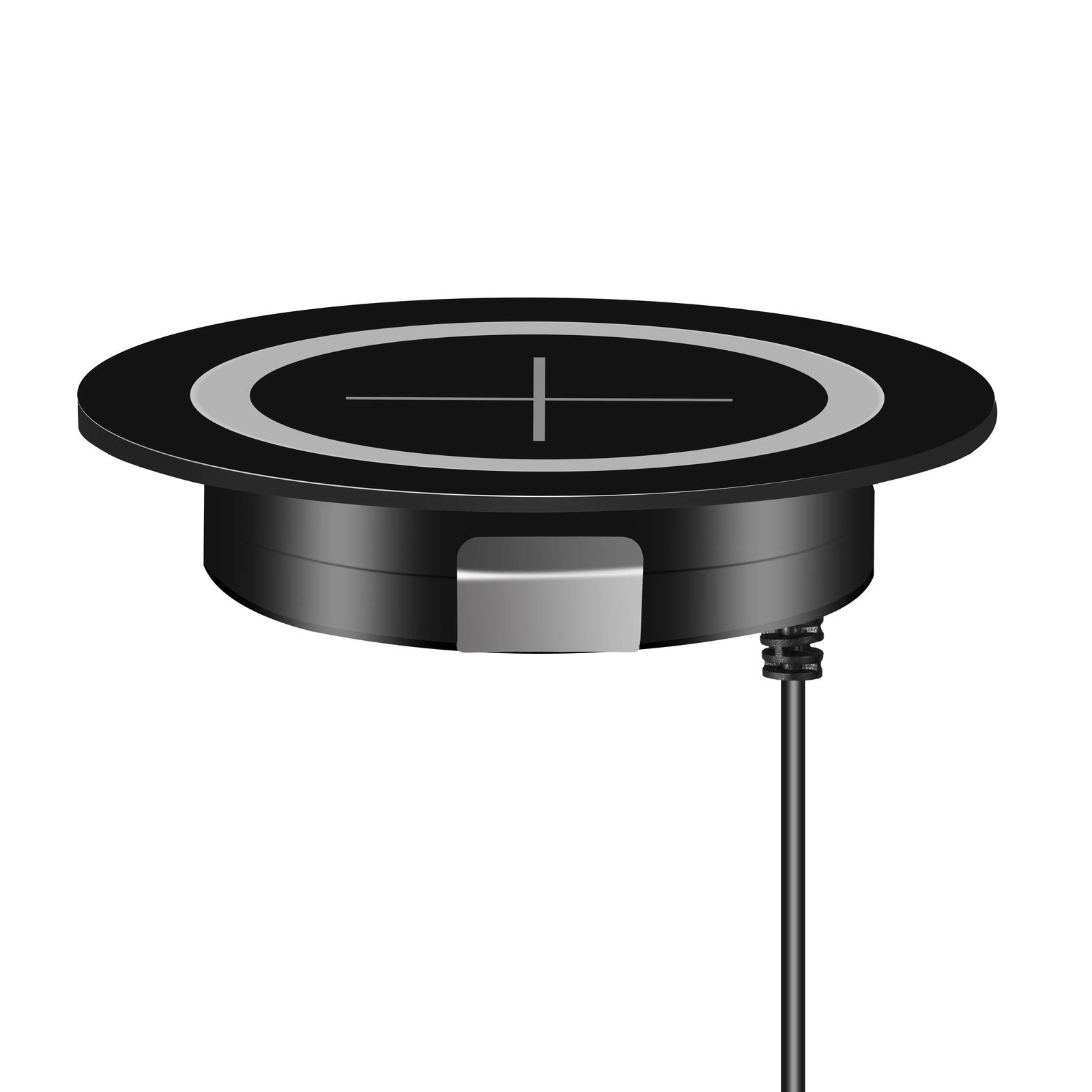 "JE Furniture Grommet Desk Surface Port Hole fast wireless charging,Certified Qi for Furniture Embedded Works which Qi-Enabled Devices 60mm 2.36"" Grommet Hole In Desk wireless surface charger (black)"