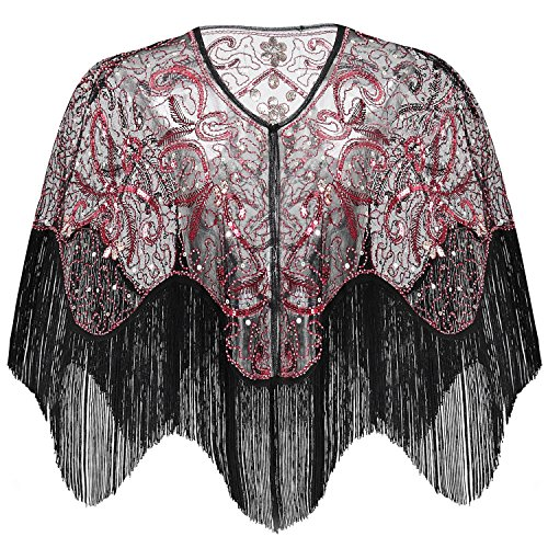 BABEYOND 1920s Shawl Wraps Gatsby Beaded Evening Cape Bridal Shawl for Evening Dresses Wedding Party (Wine Red)]()