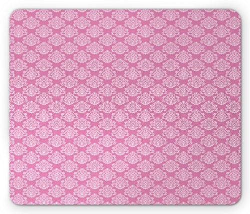 Pad, Intricate Flower Motifs Artistic Petals and Leaves Retro Renaissance Tile, Standard Size Rectangle Non-Slip Rubber Mousepad, Pink and Baby Pink (Renaissance Tile)