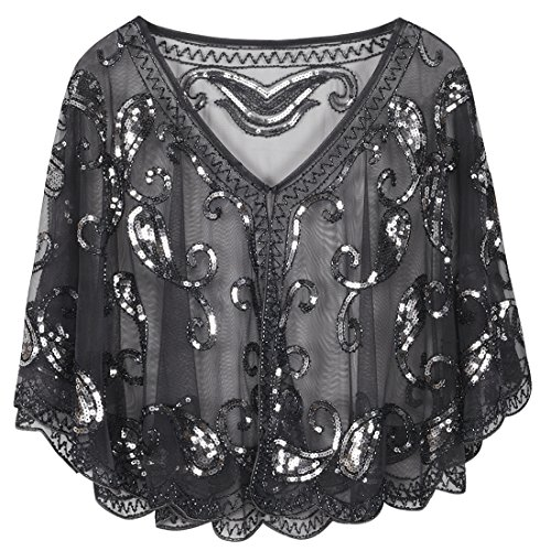- PrettyGuide Women's Evening Cape 1920s Paisley Cocktail Flapper Beaded Shawl Grey