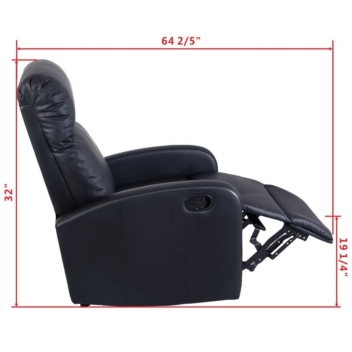 Amazon.com: Giantex Manual Recliner Chair Black Lounger Leather Sofa Seat  Home Theater: Kitchen U0026 Dining