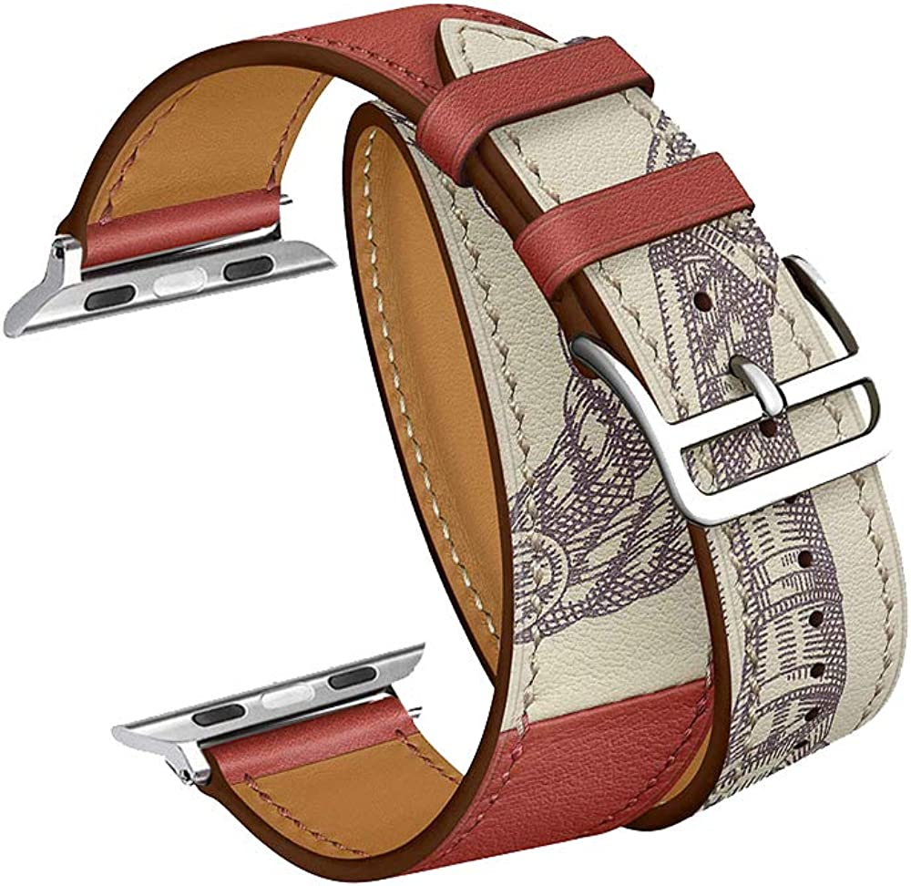 CAILIN Compatible with Watch Band for Series 1 Series 2 Series 3 Series 4 Series 5 Series 6/SE, Luxury Genuine Leather Smart Watch Band 38mm 40mm 42mm 44mm Strap(Brick red 1, 42mm/44mm)