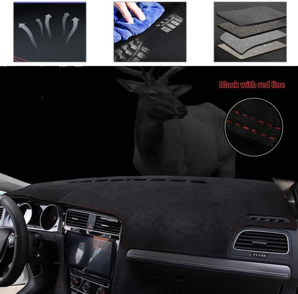 Carado Upgraded Suede Carpet Dashboard Cover Fit for Mitsubishi Outlander Sport 2011-2019 Black with red line Sunshield Mat Carpet 1 PCS