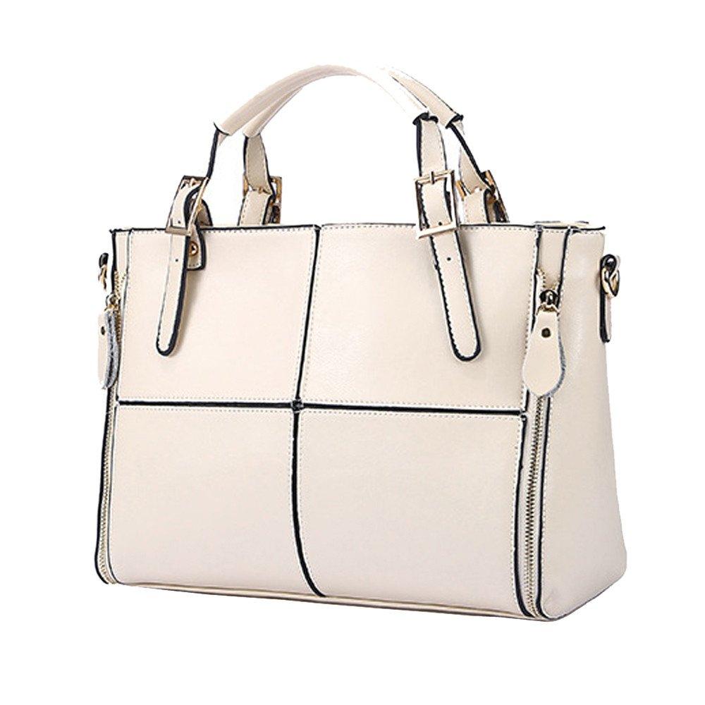 Kingfansion Fashion Ladies Leather Travel Bags Shoulder Messenger Bags School Bags Handbags Briefcases Purses Laptop Bags (White)