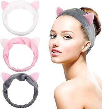 3-Pack Dreamlover Women Cat Ears Makeup Headband