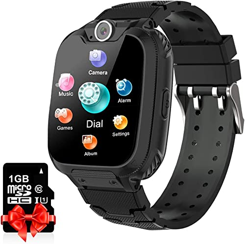 YENISEY Kids Smart Watch with SD Card Game Watch for Boys Girls Two-Way Call Music Player Camera for Kids Children Birthdaty Gift Black