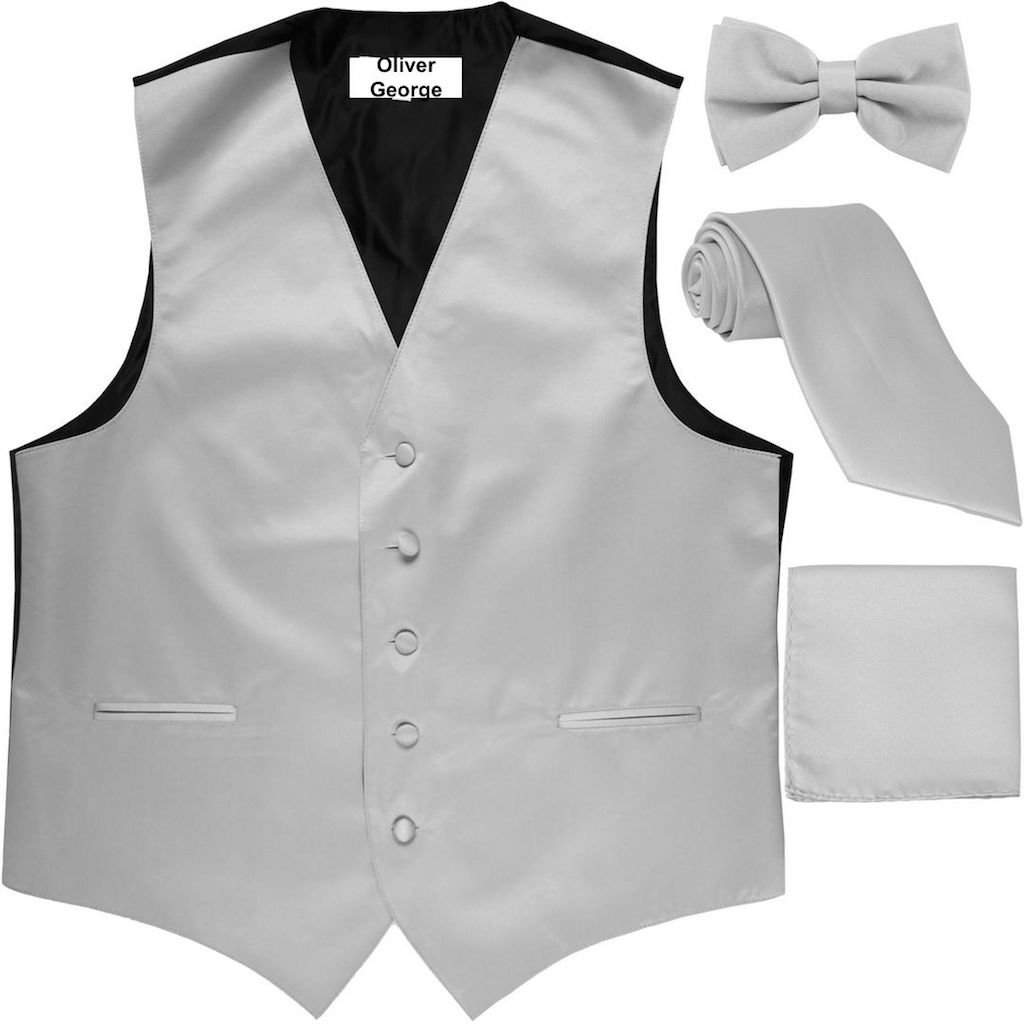 Oliver George 4pc Solid Vest Set-Silver-L