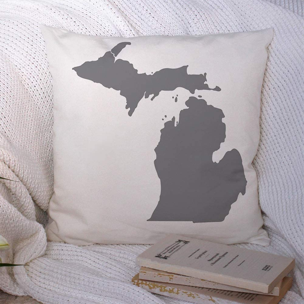 Throw Pillow Case Map Us State Michigan On White Pattern Abstract Graphic Freedom Area Border Cartography Country Polyester Square Pillow Cushion Covers for Couch Home Decorations 20x20 Inch