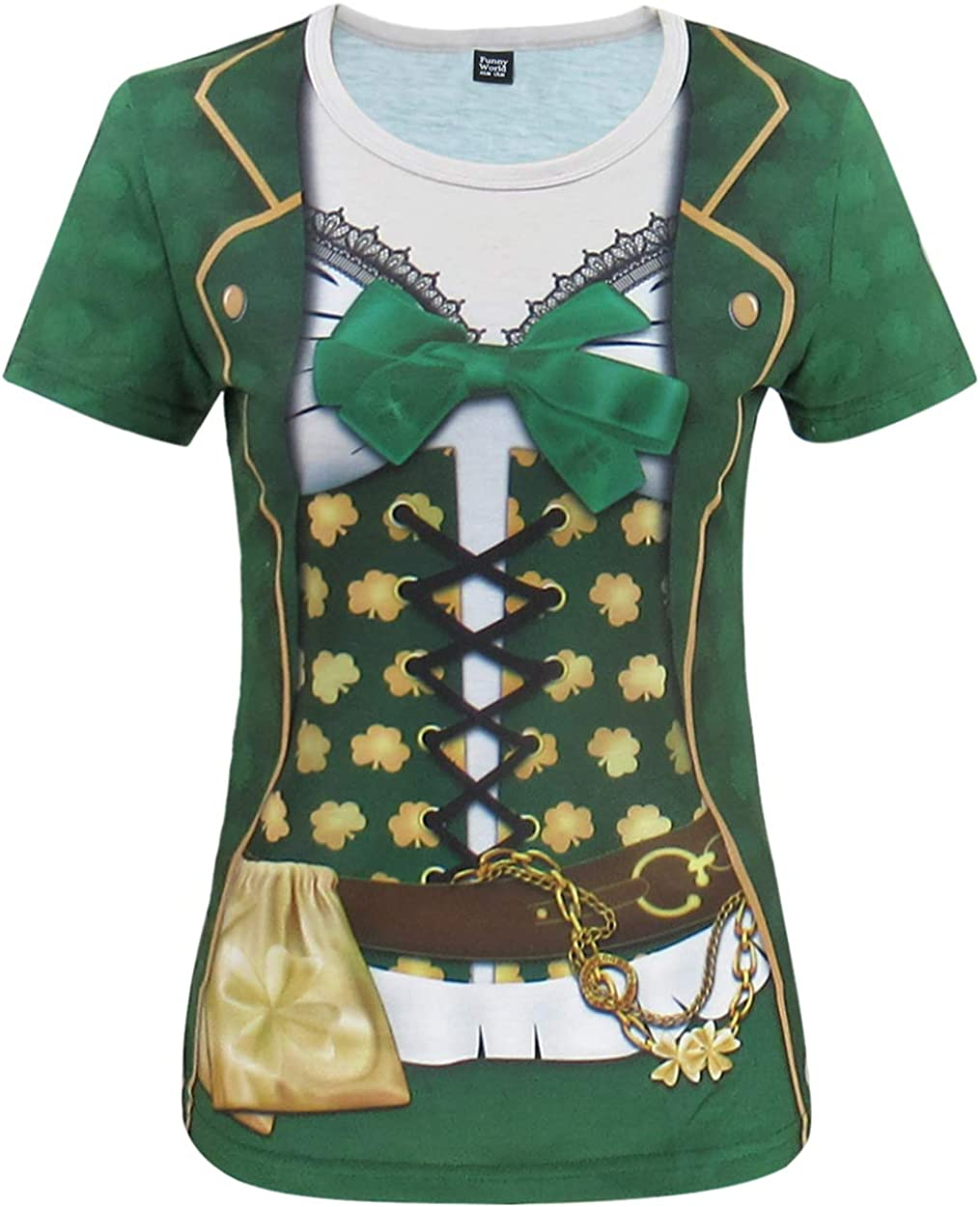 Funny World St. Patrick's Day Women's Leprechaun Costume Clover T-Shirts