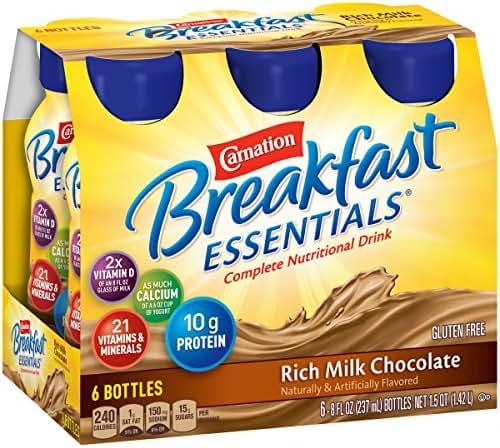 Carnation Breakfast Essentials Ready-to-Drink, Rich Milk Chocolate, 8 fl oz Bottle, 24 Pack