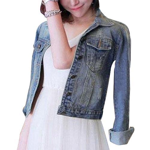 Mujer Manga Larga Corto Chaquetas Jacket De Mezclilla Abrigo Denim Jackets