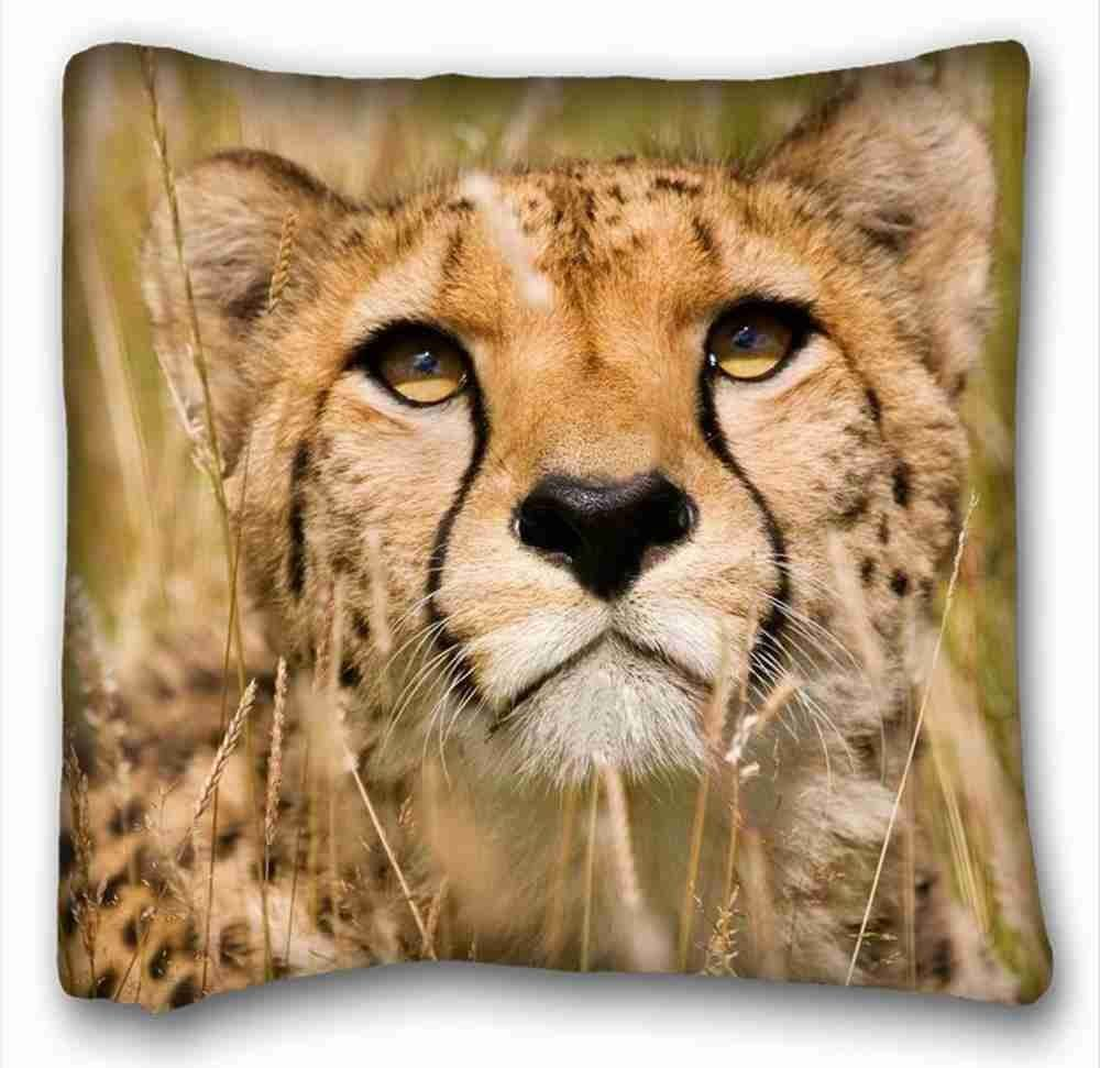 Custom Zippered Pillow Case 16x16 inches Animals cheetah big cat predator snout from Surprise you suitable for Queen-bed PC-Yellow-854 Custom one sides