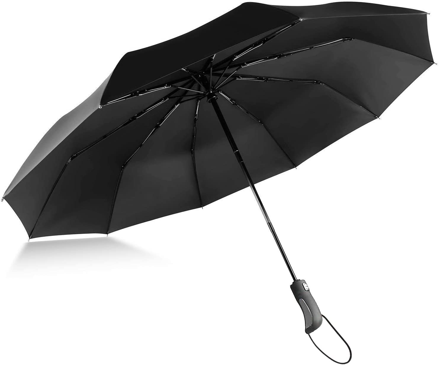 ABCCANOPY Black Folding Travel Umbrella with black handle,Automatic Open Close,Portable Compact with UV Protection,10Ribs Windproof