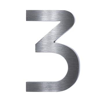 Hochwertige Edelstahl V2A HausnummerBauhaus grob geschliffen massiv /& rostfrei H/öhe Materialst/ärke 2mm 4 200mm
