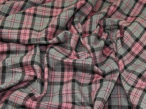 Plaid Check Wool Blend Coating Fabric Pink & Grey - per metre