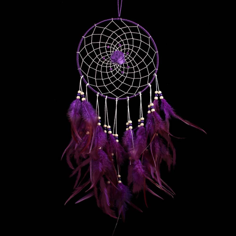 BUYITNOW Purple Feather Dreamcatcher with Beads Rose Flower 17.7'' Long Car Wall Hanging Ornament