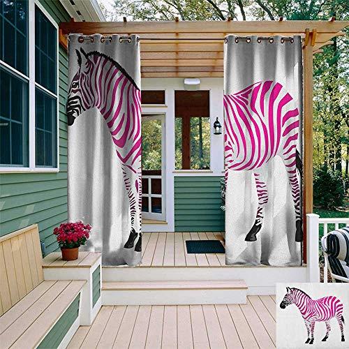 leinuoyi Pink Zebra, Outdoor Curtain Kit, Zebra Figure in Pink Stripes Savannah Animal Wilderness Symbol Safari Print, for Patio Furniture W72 x L96 Inch Dust Black