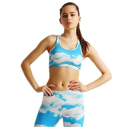 Aszhdfihas Yoga Bra Blue Printing de Secado rápido y ...