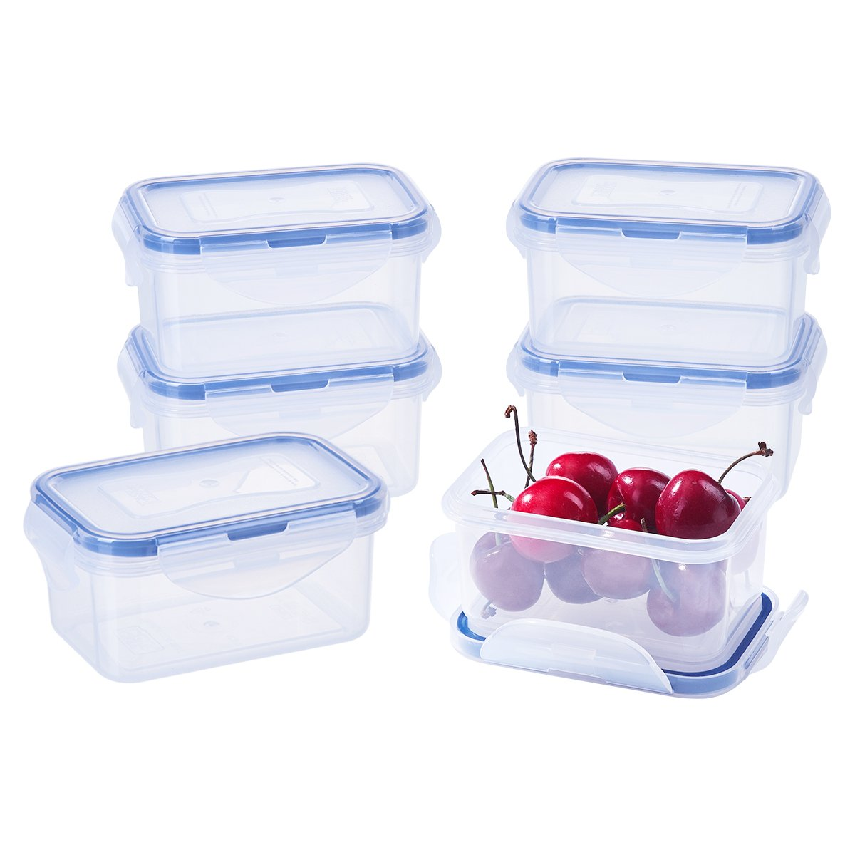 [6Pack] 6.1oz Baby Food Storage BPA-Free Airtight Plastic Containers Set, Rectangular Small Bento Lunch Boxes, Microwave, Freezer and Dishwasher Safe
