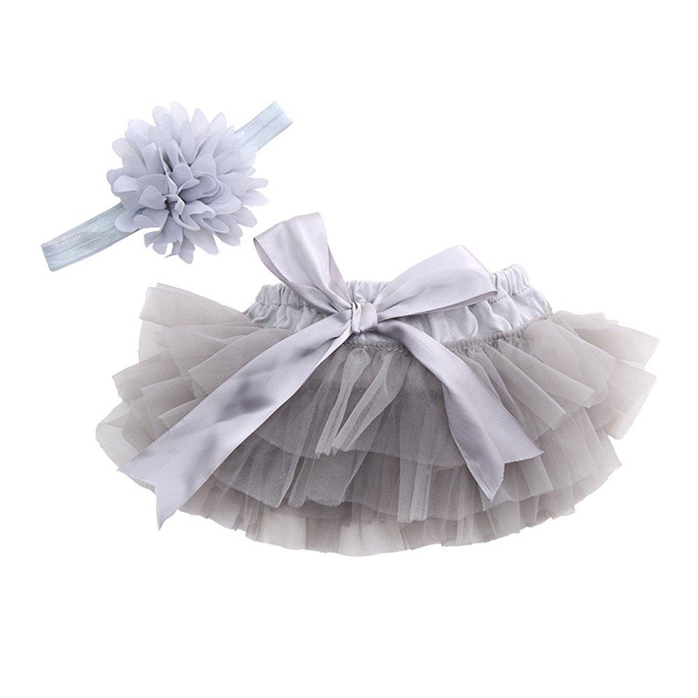 LUOEM Falda de Tutú con Cinta de Pelo de Flores para Niños Bebé Recién Nacido Accesorios de Fotografía para Fiestas Cumpleaños Talla L (Gris) 10K18088RNU1