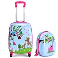 """HONEY JOY Carry On Luggage for Kids, 12"""" Toddler Backpack & 16"""" Travel Suitcase with Spinner Wheels, Durable ABS…"""