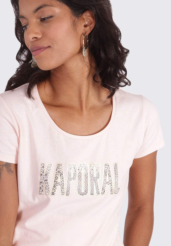 Femme Inscription en Tissu Coupe ajust/ée T-Shirt Noir /à Manches Courtes Raven Kaporal