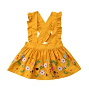XARAZA Toddler Baby Girls Strap Suspender Skirt Overalls Dress Outfit (Yellow, 1-2 T)