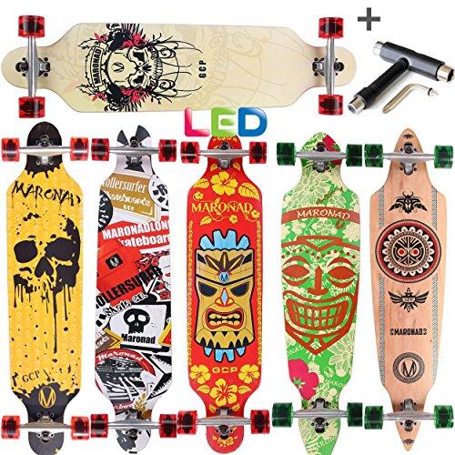 [Maronad.GCP]® Longboard Skateboard drop through Race Cruiser ABEC-11 Skateboard 104x24cm Streetsurfer skaten FUN (Modell Streetsurfer - Totenkopf mit LED Leuchtrollen + T-Tool)