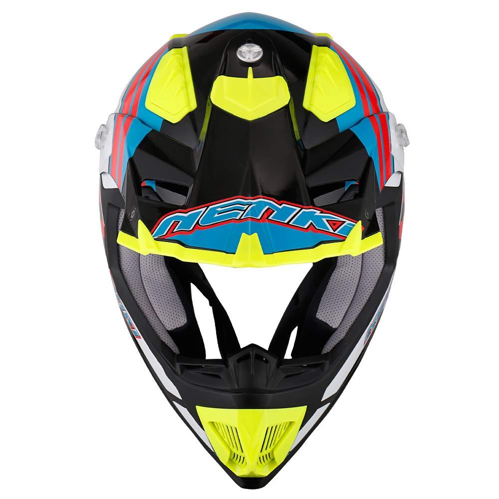 Negro Verde Blanco, L ECE Homologado NENKI Casco Motocross NK-315 para Hombres y Mujeres