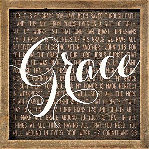 Dicksons Grace 2 Corinthians 9:8 Mocha with Vanilla Script 10 x 10 Wood Wall Sign Plaque ()