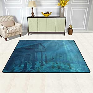 Area Rug Ocean, Sun Rays Over Ruins Sea Anti-Static, Water-Repellent Rugs for Baby Children Playroom Women Yoga 5 x 7 Feet