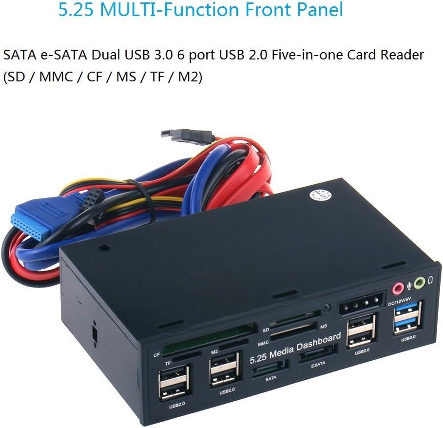Amazon.com: 5.25 inch Panel frontal multifunción USB 3.0 Hub ...