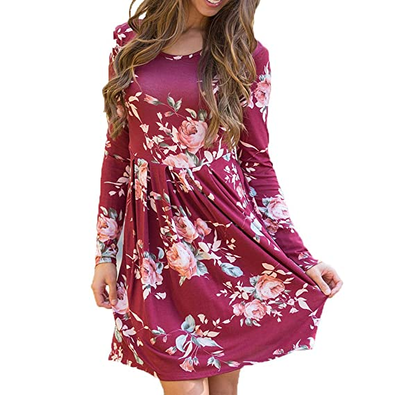 a7cb949085f INIBUD Women Long Sleeve T Shirt Dress Floral Print Pleated Casual Tunic  (Wine Red