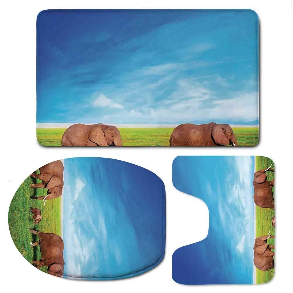 YOLIYANA Elephant Durable Bathroom 3 Piece Mat Set,Elephant Family Walking by The Grass African Savannah Sky Landscape Safari Decor for Bathroom,F:20'' W x31 H,O:14'' Wx18 H,U:20'' Wx16 H