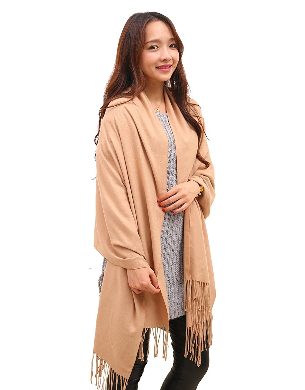 Anboor bufanda de cachemir, manta super suave con borla color sólido cálido chal para mujer