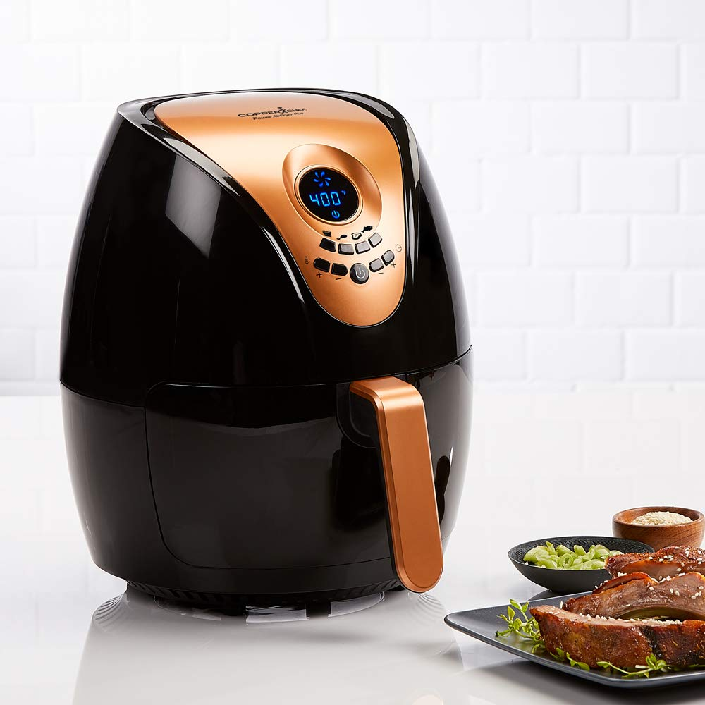Copper Chef 3.2 QT Black and Copper Air Fryer Plus- Turbo Cyclonic Airfryer With Rapid Air Technology For Less Oil-Less Cooking. by Copper Chef (Image #3)