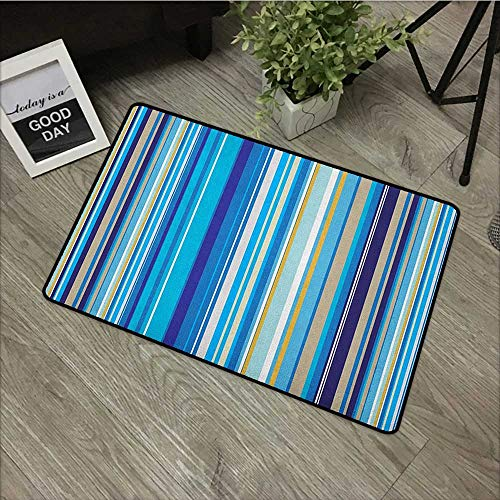 Hall mat W31 x L47 INCH Blue,Vertical Stripes Repeating Retro Revival Pattern Funky Abstract Composition, Mustard Blue White Our Bottom is Non-Slip and Will not let The Baby Slip,Door Mat Carpet