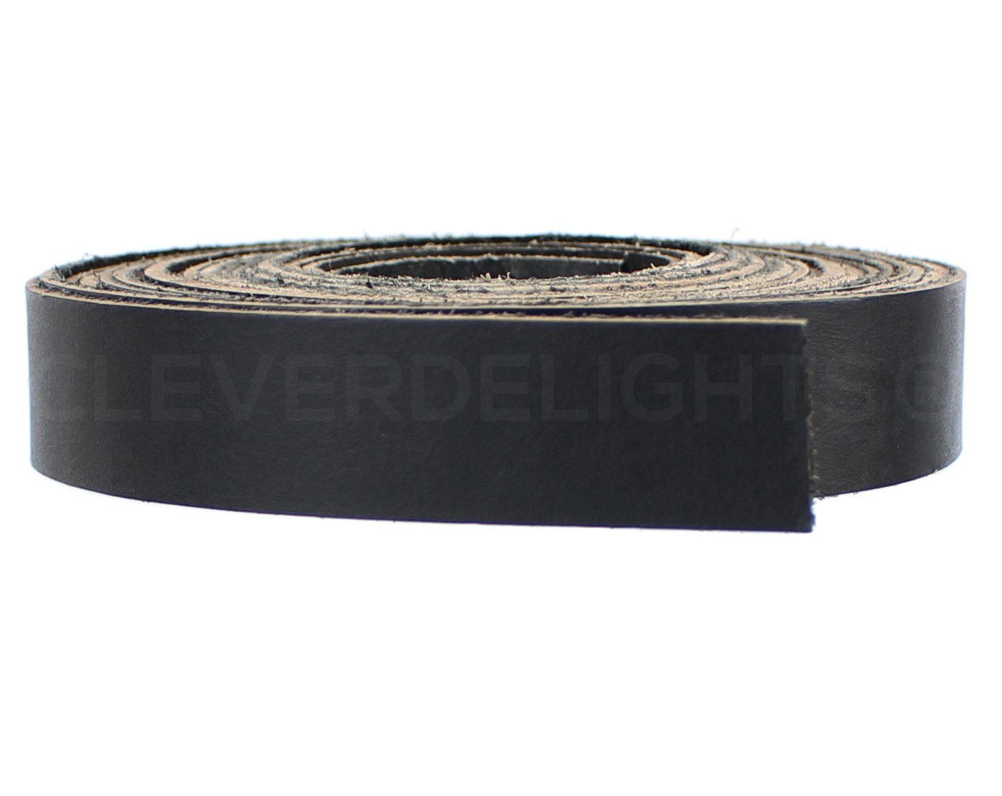 CleverDelights Premium Cowhide Leather Strap - Black - 1'' Wide - 15 Feet Long - 5oz Genuine Leather - Jewelry Craft Supply