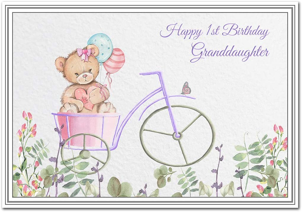 Happy 1st Birthday Granddaughter Card Baby Girl First Keepsake For 1 Year Old Girls Children S Milestone Greetings And Wishes Cute Teddy Bear Design Unique Style Child