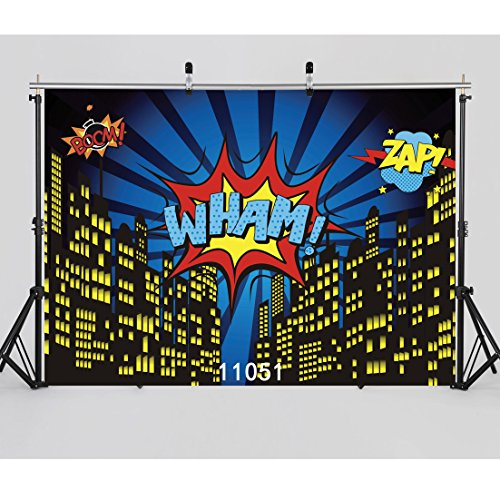 WOLADA 7x5ft Superhero Birthday Party Photography Backdrop Hero Supergirl Super City Sky Cloud Building Night Baby Shower Children Photo Background Studio Props (Party City Backdrop)