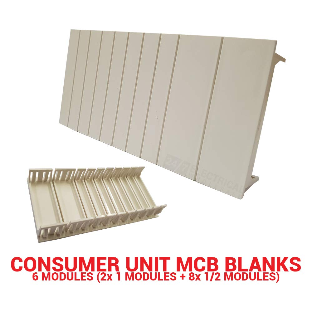 MCB Blanks Consumer Unit Distribution Board Blanking Strip 6 Modules Set Spacer