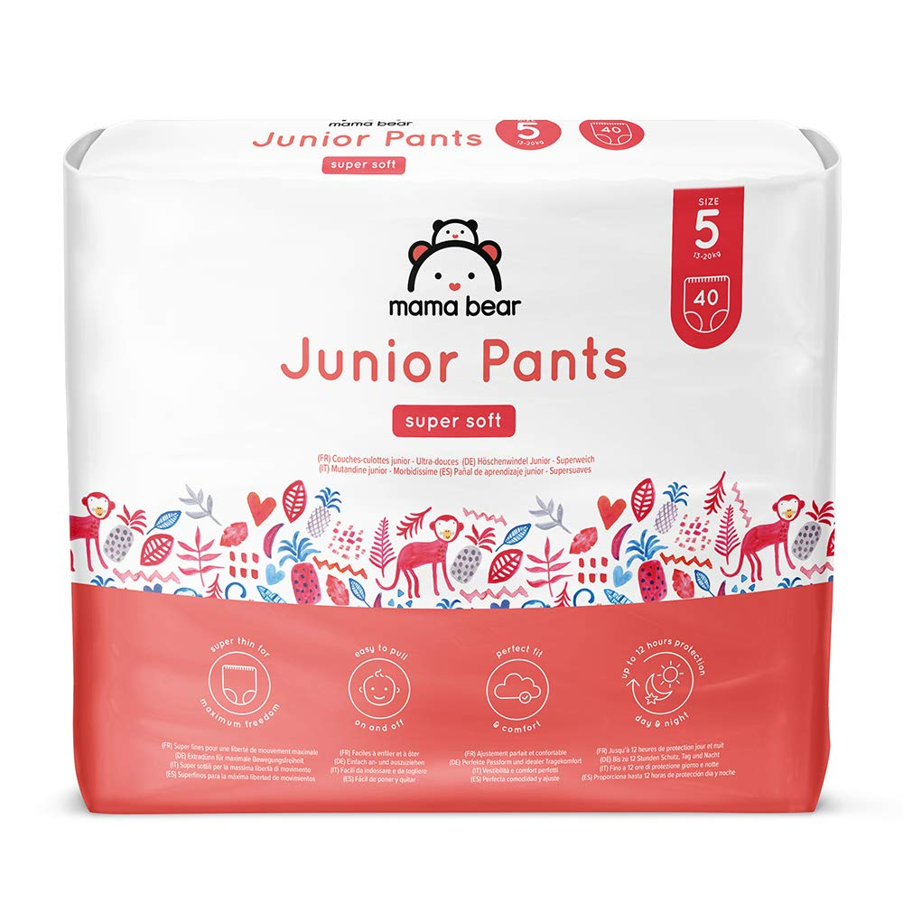 Marca Amazon- Mama Bear Pañal de aprendizaje junior- Talla 5 (13-20kg), 80 pañales (2x40): Amazon.es: Salud y cuidado personal
