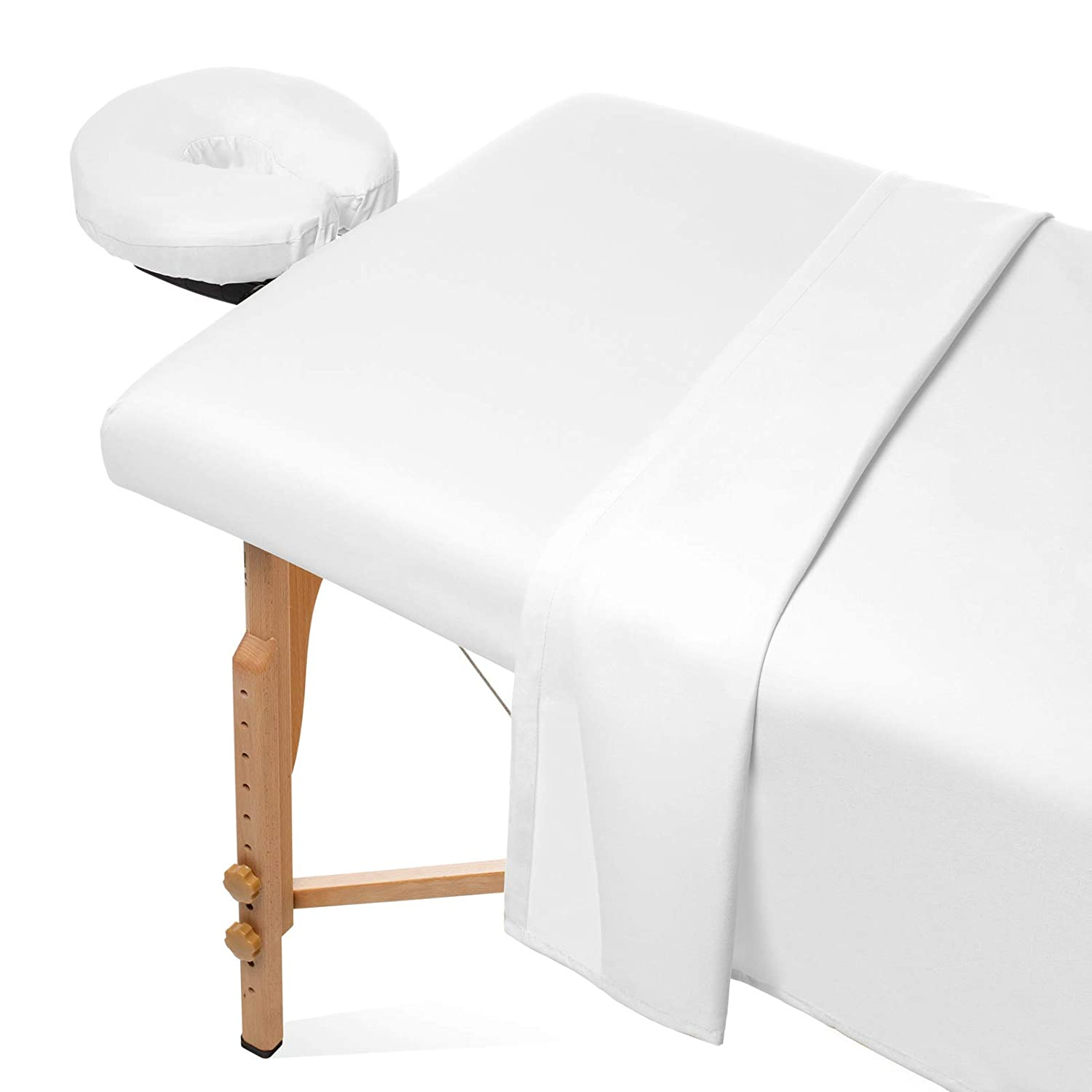 Saloniture 3-Piece Microfiber Massage Table Sheet Set - Premium Facial Bed Cover - Includes Flat and Fitted Sheets with Face Cradle Cover - White : Beauty