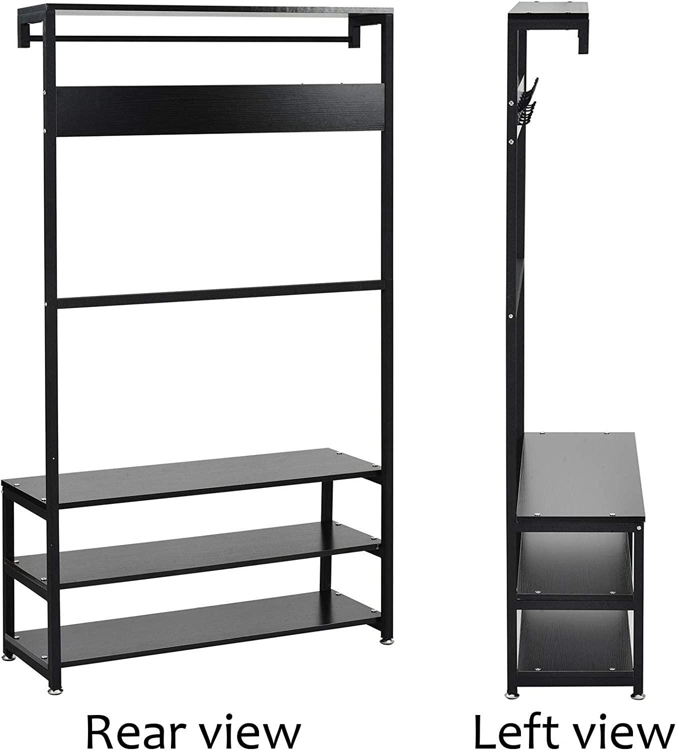 Hall Tree with Storage Bench 3 In 1 Design Easy Assembly OTFPLUS Industrial Accent Hallway Shelf Organizer with Metal Frame Entryway Coat Rack Shoe Bench