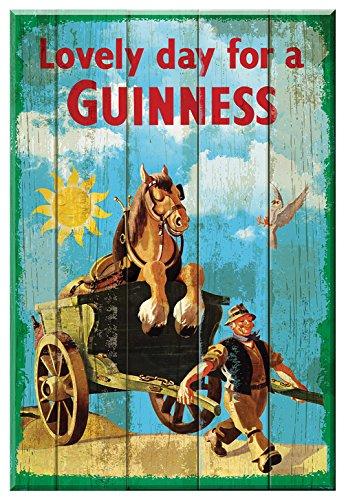 - Guinness Lovely Day For A Nostalgic Wooden Sign - Horse & Cart