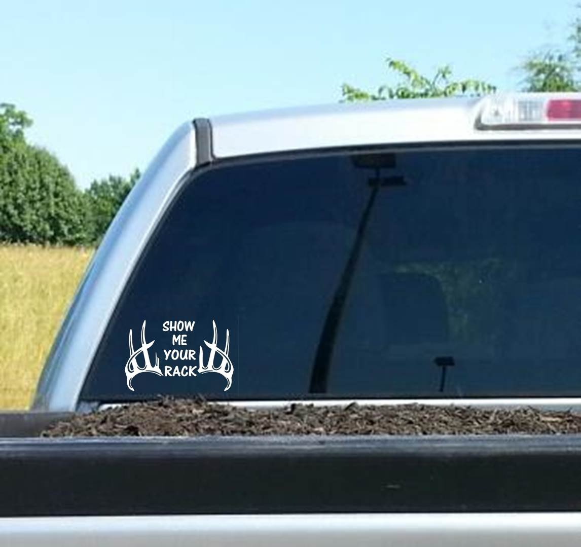 Amazoncom Show Me Your Rack Archery Deer Hunting Bowhunting - Rear window hunting decals for trucksamazoncom truck suv whitetail deer hunting rear window graphic