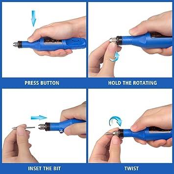 Pulidor de Uñas Kit de Manicura Pedicura Pluma de Taladro de Uñas Set manicura pedicura profesional 6 en 1 Velocidad Ajustable torno para uñas (Azul)
